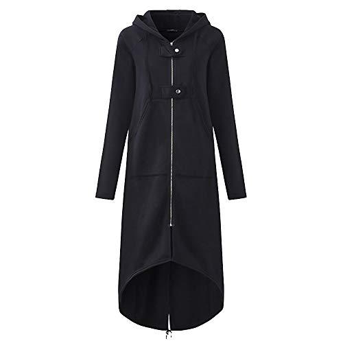 TUDUZ Damen Herbst Winter Mantel Warm Reißverschluss Öffnen Hoodies Einfarbig Beiläufig Lange Ärmel Sweatshirt Lange Mantel Tops Outwear Light Jacke