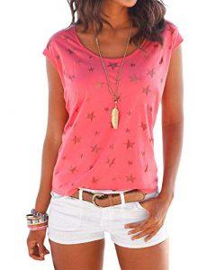 YOINS Shirt Damen T-Shirt Oberteile Langarmshirt Sexy Oberteil für Damen Tops Sommer Ärmellos Rundhals mit Sterne