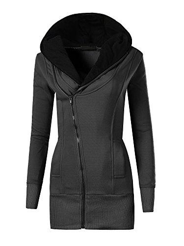 Diva-Jeans Damen Pullover Long Kapuzenpullover Sweatshirt Hoodie Jacke Langarm N007