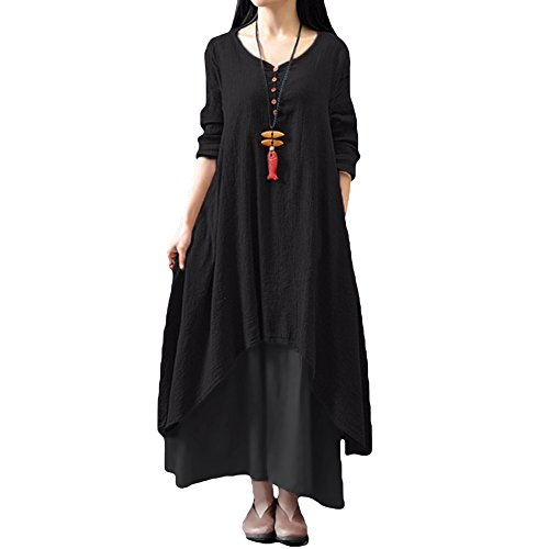 Romacci Damen Beiläufige Lose Kleid Fest Langarm Boho Lang Maxi Kleid S-5XL Schwarz/Weiß/Rot/Gelb