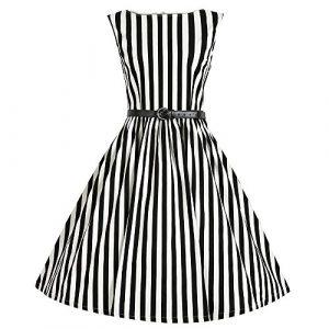 Babyonline Damen Ohne Arm Streifen Stil Hepburn Freizeit Midi Kleid Tanzkleid Cocktailkleid Abendkleid Partykleid