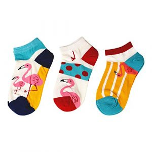 MarylinDreams Damen Sneaker Socken | (3 Paar) | Kurze Bunte Flamingo Motive | Mehrfarbig | (Größe 35-40)