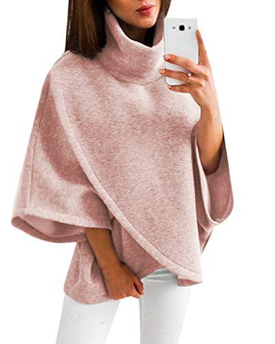 YOINS Damen Pullover Oberteil Poncho Winter Warm Asymmetrische für Damen Pulli Cardigan Sweatshirt Rollkragenpullover Langarm